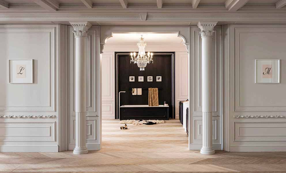 Bathroom with White Oak Italian Wide Plank Chevron Wood Flooring | Tavolato Veneto