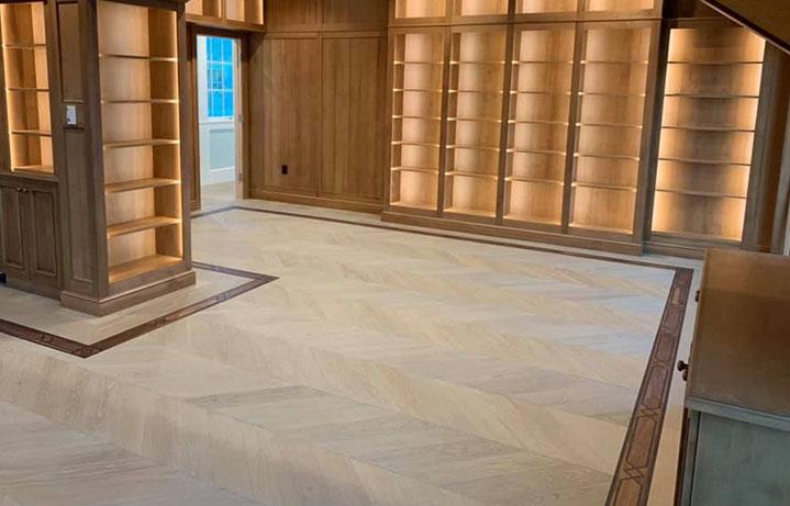 Chevron Wood Flooring with Border Italian wide plank | Tavolato Veneto