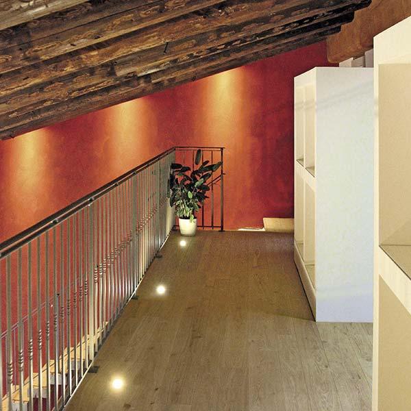 Hallway Loft Area with White Oak Italian Wide Plank Wood Flooring | Tavolato Veneto