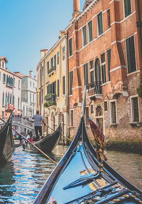 Italian Gondolas in Venice Italy | Italian Wide Plank Wood Flooring from Tavolato Veneto