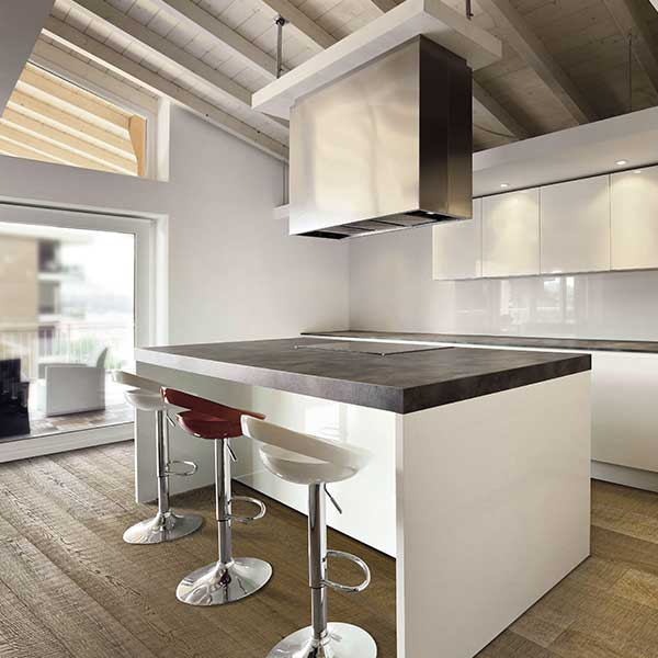 Kitchen with White Oak Saw Cut Italian Wide Plank Wood Flooring | Tavolato Veneto