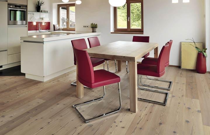 Kitchen and dining area with Larch Flooring | Italian Wide Plank Wood Flooring Tavolato Veneto