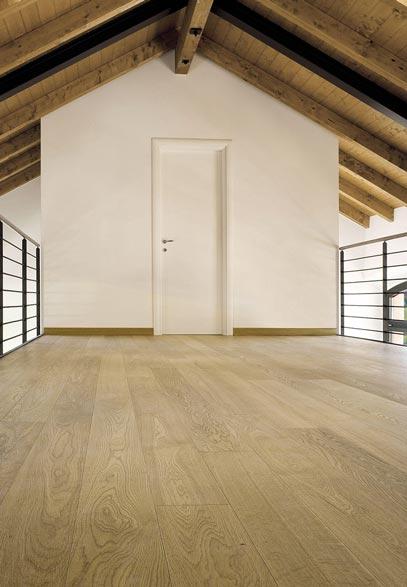 Loft area with European Chestnut wood flooring | Italian Wide Plank Wood Flooring Tavolato Veneto