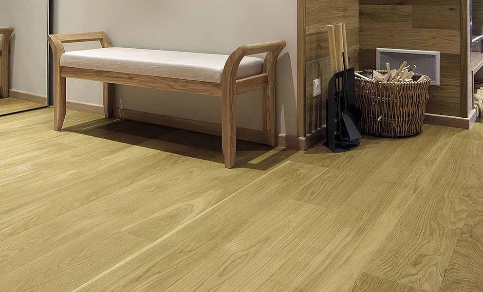 Seating area with White Oak flooring | Italian Wide Plank Wood Flooring Tavolato Veneto