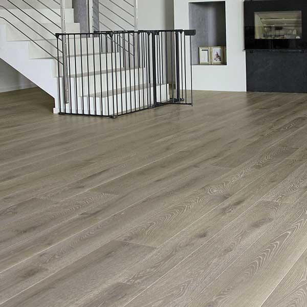 White staircase with White Oak Italian Wide Plank Wood Flooring Tavolato Veneto