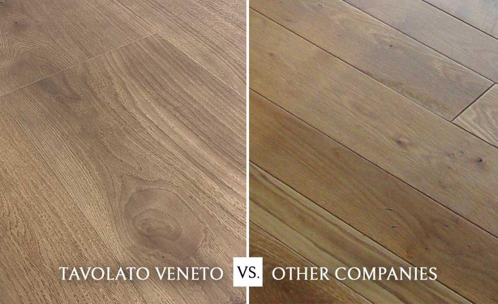 Tavolato Veneto Italian Wood Flooring Micro-Beveling System for Precision Installation versus A Competitor Flooring Company Installation