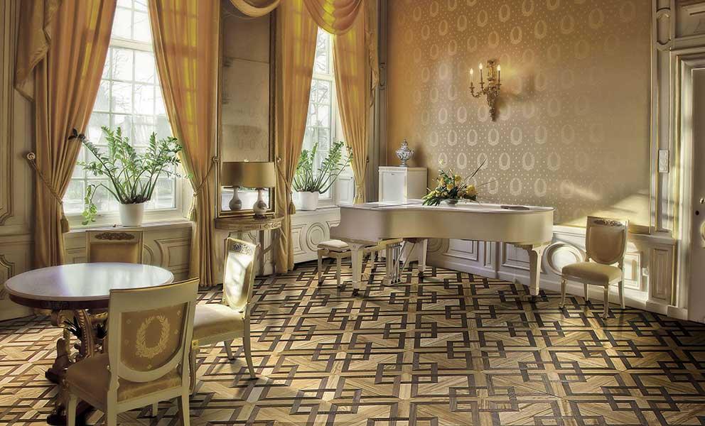 Italian Wide Plank Wood Flooring Vasari Pattern in a Study | Wood Flooring System for Interior Designers Tavolato Veneto