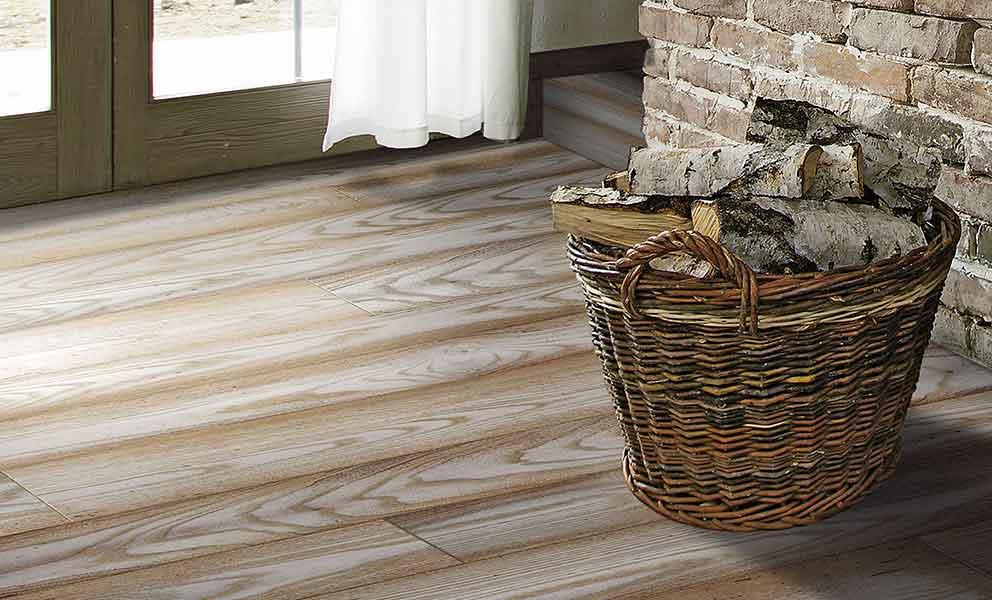 Wood Basket on European Elm flooring | Italian Wide Plank Wood Flooring Tavolato Veneto
