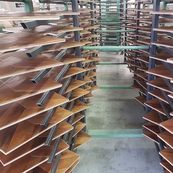 Natural Drying Process for Wood planks on drying racks | Italian Wide Plank Wood Flooring Tavolato Veneto